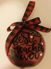 Christmas ornament Best Teacher Ever Holiday Gift School Personalized Glitter