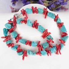 Red coral branch Turquoise Gemstone DIY handmade chain 15inches Cultured Bohemia