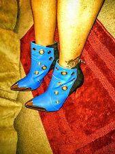 women royal blue/ gold plated heels sz. 10