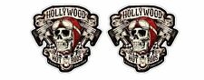 2x Retro Hot Rod Hollywood Skull Respect Tradition Chopper Bike Sticker Printed