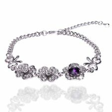 UK Ladies Elegant Silver pltd flower Rhinestone Bracelet Bangle Jewellery 1173