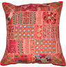 20x 20 Red Decorative Throw Pillow Vintage Patchwork Cushion cover Indian pillow