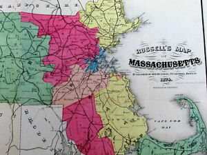 Massachusetts state travel distances 1874 Russell large old hand color fold map