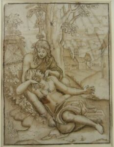 ALTMEISTER ZEICHNUNG 1600 VENUS ADONIS AGOSTINO VENEZIANO GIULIO ROMANO Drawing