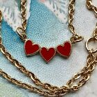 Vintage Emmons Necklace,For Little Girl,Enamel Heart,Valentines Day Gift G36A