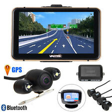 7' 8GB TFT LCD GPS Monitor Mirror+Wireless Reverse Rear View Backup Camera+Radar
