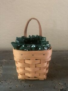 Small 2000 Longaberger Hanging Basket With Leather Handle, Fabric Liner & Protec