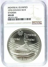1976 Canada Montreal Olympics Stadium Silver $10 Coin - NGC MS 68 - KM# 113