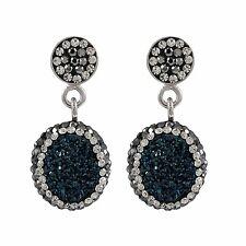 Sterling Silver Blue Druzy Quartz Czech Crystals Oval Dangle Earrings