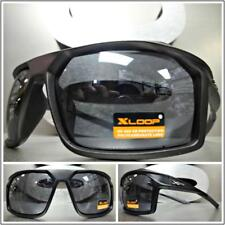 WRAP AROUND SPORT CYCLING FISHING GOLFING DRIVING CASUAL SUN GLASSES Black Frame