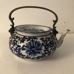 Vintage Blue and White Chinese Teapot with Metal Handle