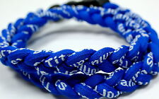 "Kids 18"" All Royal Blue 3 Rope Titanium Sports Necklace Tornado Baseball"