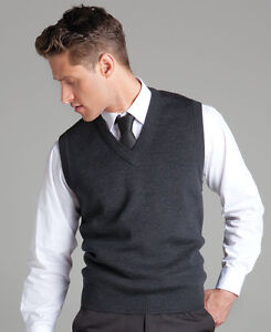Mens Knitted Vest Pullover Wool Corporate Office V-Neck Sizes S-5XL Warm New 6V