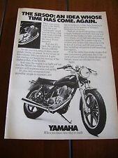 1978 YAMAHA SR500  ***ORIGINAL VINTAGE AD***