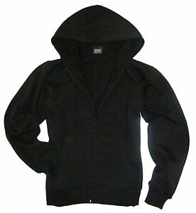 MENS PLAIN BLACK ZIP UP HOODY hooded cotton sweatshirt Gents big & tall 3XL-8XL