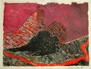 GEORGE CONDO Signed 1983 Original Acrylic/Crayon Painting
