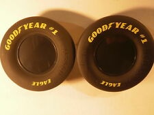 "Set of 2 Goodyear Tires NASCAR Racing Slick Race Tire Rubber 3.5"" X 1.5"" Eagle"