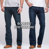 Mens Cowboy Boot Cut Jeans Slightly Flared Slim Classic Male Stretch Denim jeans