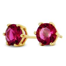 9ct Yellow Gold Filled GF Stud Earrings 6mm Simulated Red Ruby Womens BE921