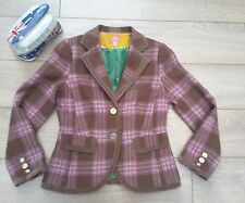 JOULES GRANDSTAND Truffle brown pink Tweed wool Check Blazer Jacket blazer 12