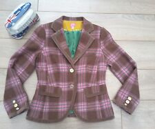 JOULES TRUFFLE GRANDSTAND pink brown Tweed Check Blazer Jacket blazer 12
