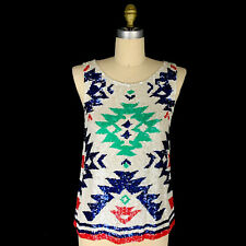 Calypso St Barth Sequins Top Size Medium Geometric Print Green White Blue Red