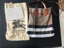Authentic Burberry Medium Canvas Check Tote Bag - Saddle Brown