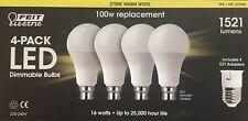 FEIT ELECTRIC 4PK LED DIMMABLE BULBS 100W 16W B22 + E27 1521 LUMENS WARM WHITE