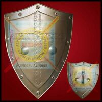 Medieval Iron Steel Shield Golden For re-enactment  larp role-play fancy-dress