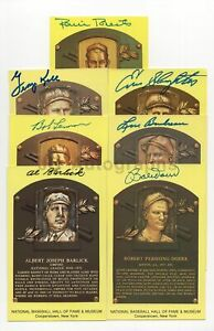Baseball Hall of Famers - 7 Autographed HOF Plaques w/ Doerr, Barlick, Lemon +