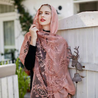 Fashion Women Lace Silk Scarfs Shawls Long Embroidery Hijab Wraps Scarves