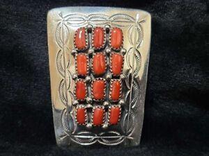 Native American Navajo Handmade Sterling Silver Coral Bolo -Julia Slinkey