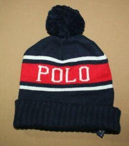 NWT POLO RALPH LAUREN Blue & Red USA Hat Beanie