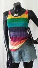 Vintage 90s Retro Rainbow Hippie Boho Knitted Vest Jumper TOP Godsent