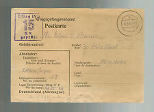 1941 Germany French Officer Prisoner of War POW Camp Postcard Cover Oflag 4D USA