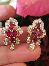 ANTIGUO RUBÍ Y Diamante Pendientes en 18ct Oro Amarillo 5.10 cttw- hm1214