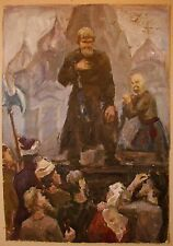 Russian Ukrainian Soviet Oil Painting realism execution of rebel people genre