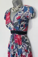 MONSOON Blue Red Pink Floral Print Silky Cotton Cap Sleeve Elegant Dress UK 12