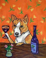 Basenji at the wine bar dog art print artwork 13x19