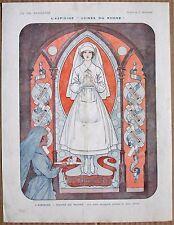 HEROUARD 1916 Vintage French Vie Parisienne Ad Print NURSE STAINED GLASS WINDOW
