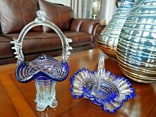 PAIR Vintage Murano Art Glass BLUE SPIRAL Decorated BASKETS Candy Dish