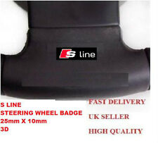 BLACK S LINE STEERING WHEEL BADGE EMBLEM A3 A4 A5 A6 S4 S5 RS Q7 AUDI ALLOY RS