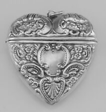 Victorian Style Sterling Silver Heart Locket Box Pendant - Free Shipping