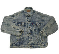 Vintage Levi's Acid Wash Denim Trucker Jacket Made In USA Mens Large 70507 0219