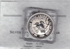 1994 AUSTRALIA SILVER ONE OUNCE KOOKABURRA IN A SLAB WITH CERTIFICATE