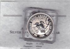 1994 Australia plata una onza Kookaburra en una losa con certificado