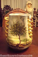 Ceramic hand painted vase pinched body, spiral handles,beautiful decorations[c12