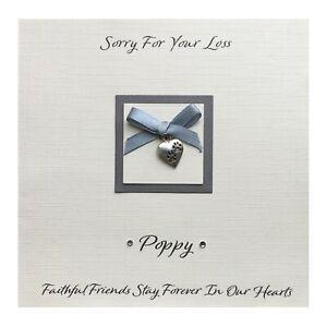 Handmade PERSONALISED Pet Bereavement Card Sympathy Condolence - Paw Heart Charm
