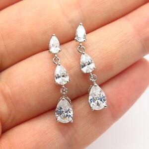 925 Sterling Silver C Z Graduated Dangling Earrings