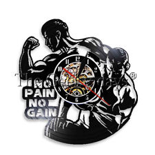 No Pain No Gain Vinyl Record Clock Gym Wall Clock Sport Bodybuilding Fitness Art
